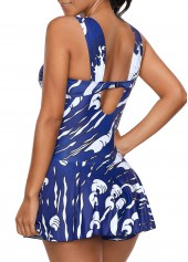 wholesale Printed Padded Ruched One Piece Swimdress