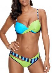 Twist-Front-Spaghetti-Strap-Color-Block-Bikini-Set