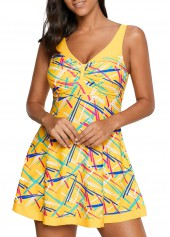 Yellow V Neck Printed Swimdress and Shorts
