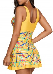 wholesale Yellow V Neck Printed Swimdress and Shorts