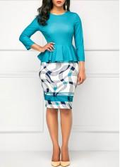 Peplum-Waist-Round-Neck-Printed-Peacock-Blue-Dress