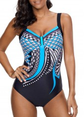 Open Back Printed One Piece Swimwear
