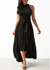 Asymmetric-Hem-Belted-Black-Maxi-Dress-and-Cardigan