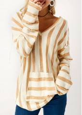 V Neck Long Sleeve Striped Pocket T Shirt