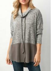 Cowl-Neck-Drawstring-Color-Block-Grey-Sweatshirt