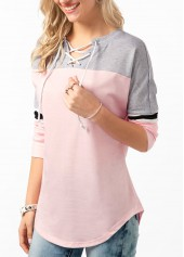 wholesale Curved Hem Lace Up Front Color Block T Shirt