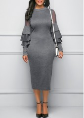 wholesale Layered Bell Sleeve Mesh Panel Grey Sheath Dress