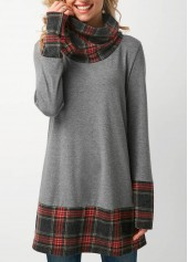 Cowl Neck Long Sleeve Grey T Shirt