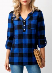 Split Neck Roll Tab Sleeve Plaid Blouse