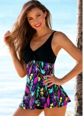 wholesale V Neck Printed Empire Swimdress and Panty