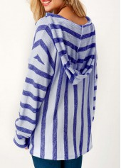 wholesale Hooded Collar Pocket Long Sleeve Striped T Shirt