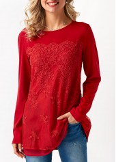 Long Sleeve Mesh Panel Red Blouse