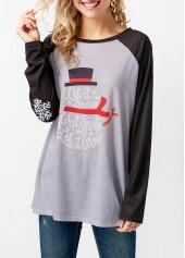 Letter Print Raglan Sleeve Round Neck T Shirt