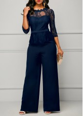 wholesale Three Quarter Sleeve Lace Panel Navy Jumpsuit