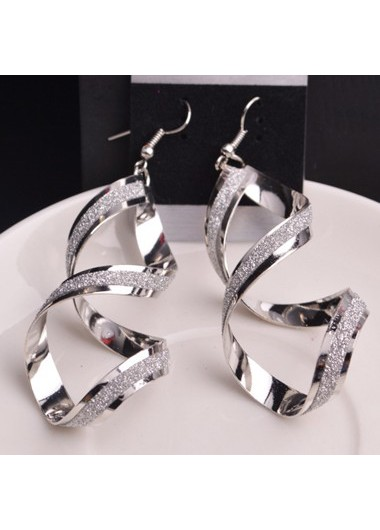 Fashion Twist Design Silver Metal Earrings