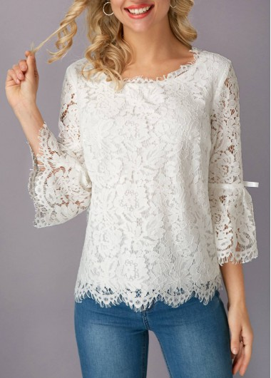 White Flare Sleeve Eyelash Lace Blouse - M