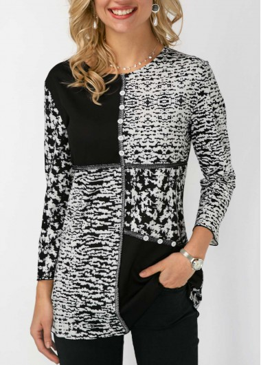 Button Detail Round Neck Printed Blouse