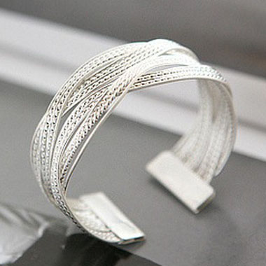 Metal Rattan Knitted Twisted Silver Wide Bracelet