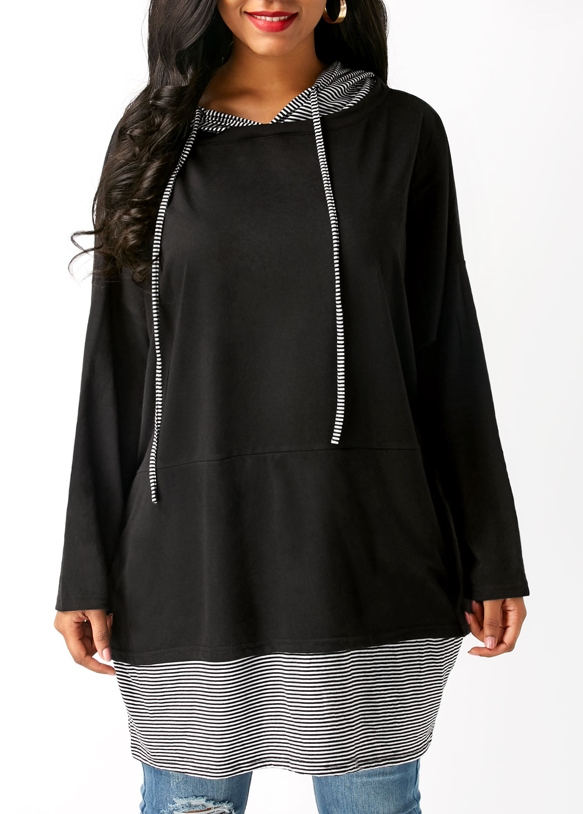 Black Long Sleeve Striped Drawstring Hoodie