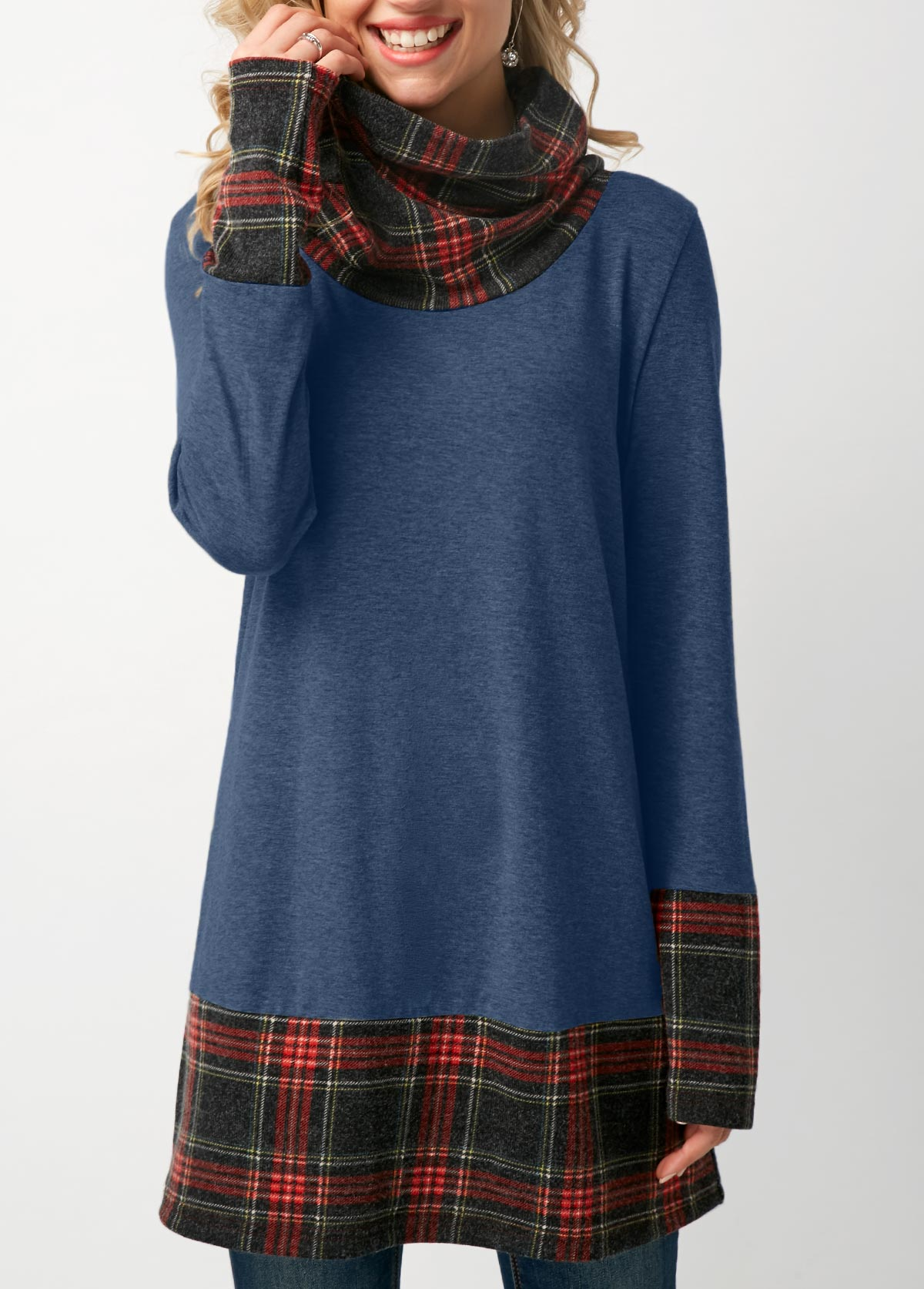 Blue Cowl Neck Patchwork Plaid T Shirt