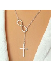 Infinity Shape Cross Pendant Silver Metal Necklace