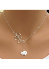 wholesale Bird Pendant Leaves Lariat Silver Sterling Necklace
