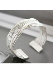 Metal-Rattan-Knitted-Twisted-Silver-Wide-Bracelet