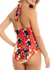 wholesale Halter Printed Deep V Neck One Piece Swimwear
