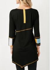 wholesale Asymmetric Hem Black Zipper Back Printed Blouse