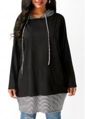 Black-Long-Sleeve-Striped-Drawstring-Hoodie
