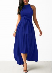 Royal Blue Cardigan and Asymmetric Hem Belted Dress