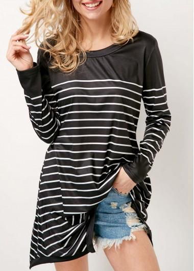 Stripe Print Long Sleeve Round Neck Black T Shirt - S