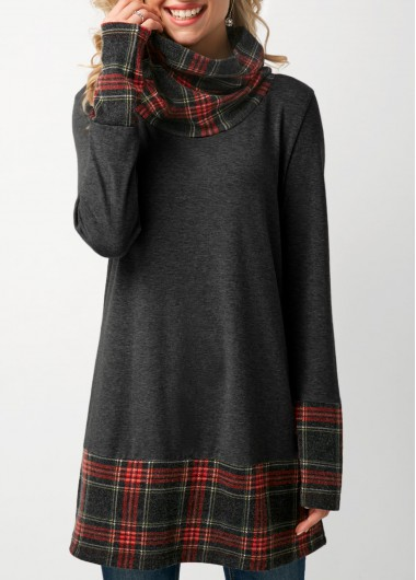 Dark Grey Cowl Neck Patchwork Plaid T Shirt