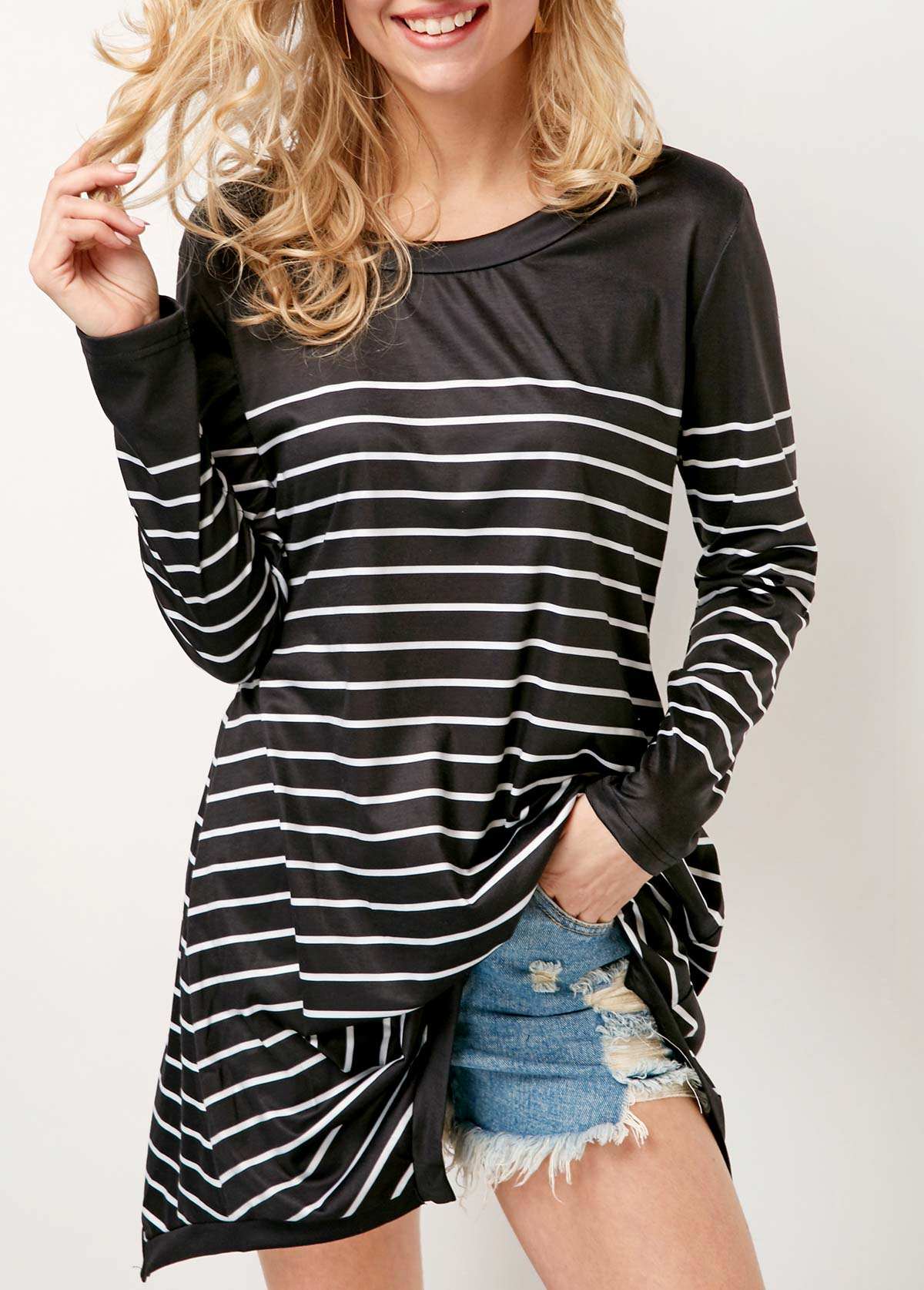 Stripe Print Long Sleeve Round Neck Black T Shirt