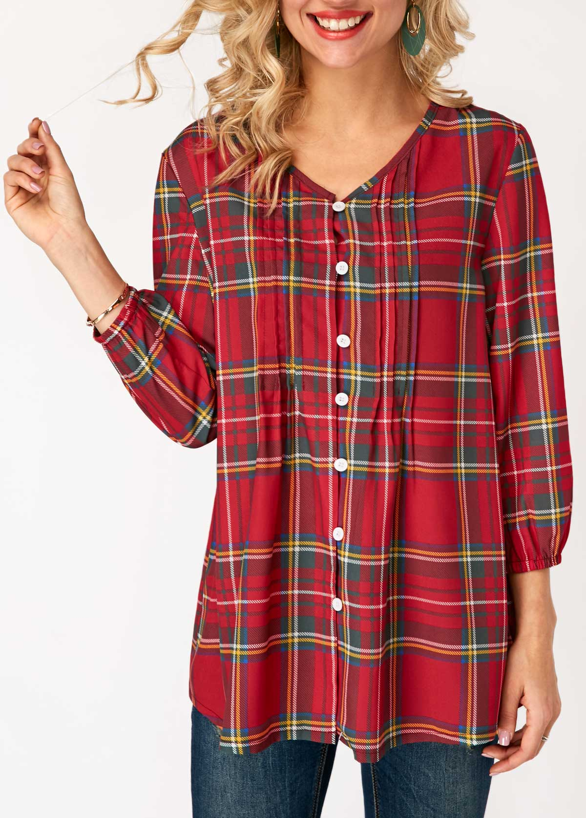 V Neck Plaid Print Button Closure Blouse