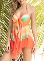 wholesale Halter Neck Printed Orange Swimdress and Panty