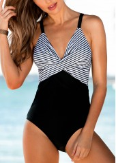 Deep V Neck Striped One Piece Swimwear