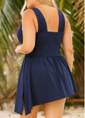 wholesale Plus Side Slit Wide Strap Navy One Piece Swimdress