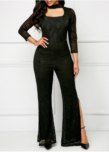 Choker Neck Double Slit Black Lace Jumpsuit