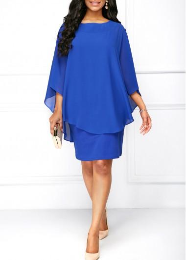 Royal Blue Round Neck Overlay Dress