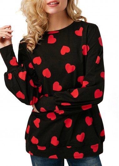 Valentines day Heart Print Blouson Sleeve Black Cute Top - M
