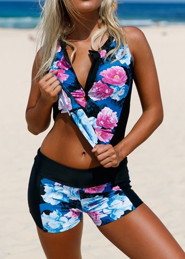 Women's Flower Print Zipper Front Tankini Swimwear - L