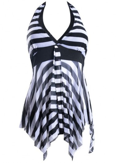 Striped Asymmetric Hem Halter Tankini Top and Panty