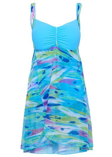 Open Back Printed Overlap Blue Swimdress