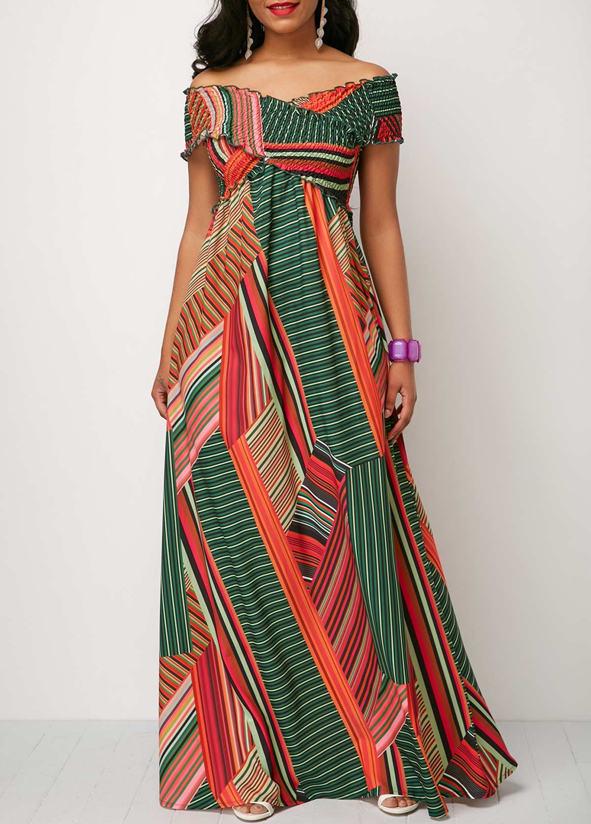 733f2562529f7 Shirred Detail Printed Off the Shoulder Maxi Dress | modlily.com ...