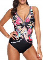 Deep V Neck Printed Black One Piece Swimwear