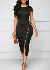 Zipper-Detail-Round-Neck-Black-Sheath-Dress