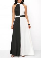 Color-Block-Mock-Neck-Zipper-Back-Maxi-Dress