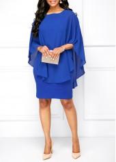 wholesale Royal Blue Round Neck Overlay Dress