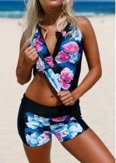 Flower Print Zipper Front Swimwear Top and Shorts